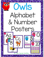 https://www.teacherspayteachers.com/Product/Owl-Alphabet-and-Number-Posters-Bundle-2698367