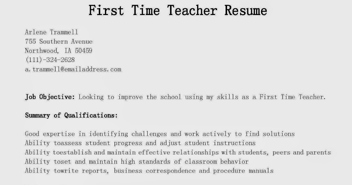 First Time Resumes How To Write A Resume With No Experience