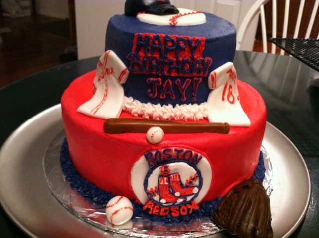 Birthday Boston Red Sox Baseball Cake Its Chocolate With Buttercream Frosting And Marshmallow Fondant Decorations All Hand Created Love