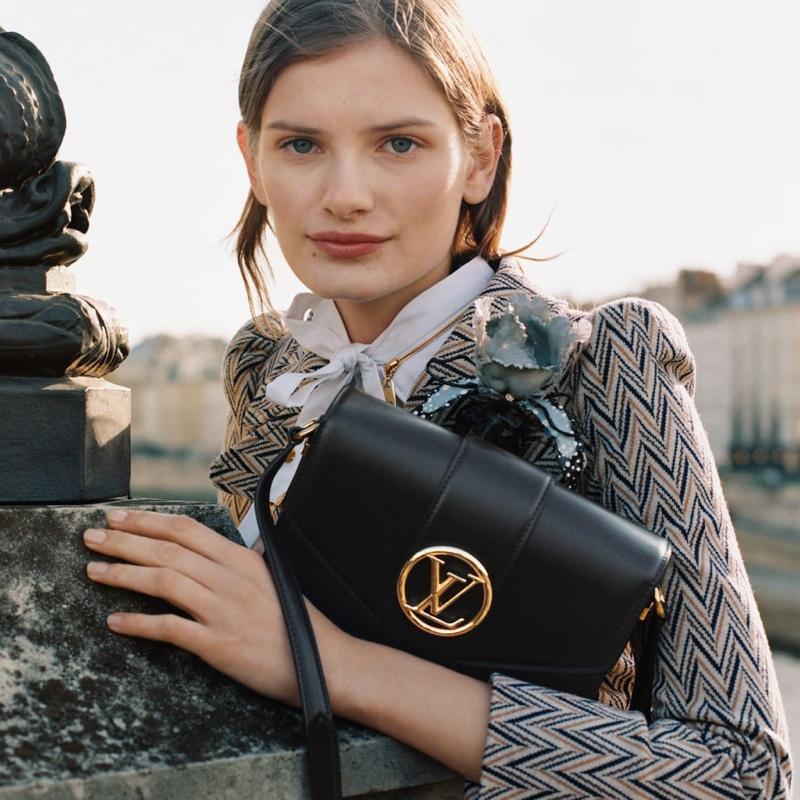 Signe Veiteberg poses in Louis Vuitton LV Pont 9 handbag campaign.