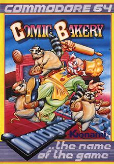 Portada de la cinta casete del videojuego Comic Bakery, Imagine (1984)