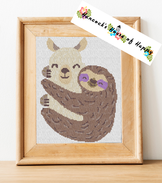 llama and sloth cross stitch design to download