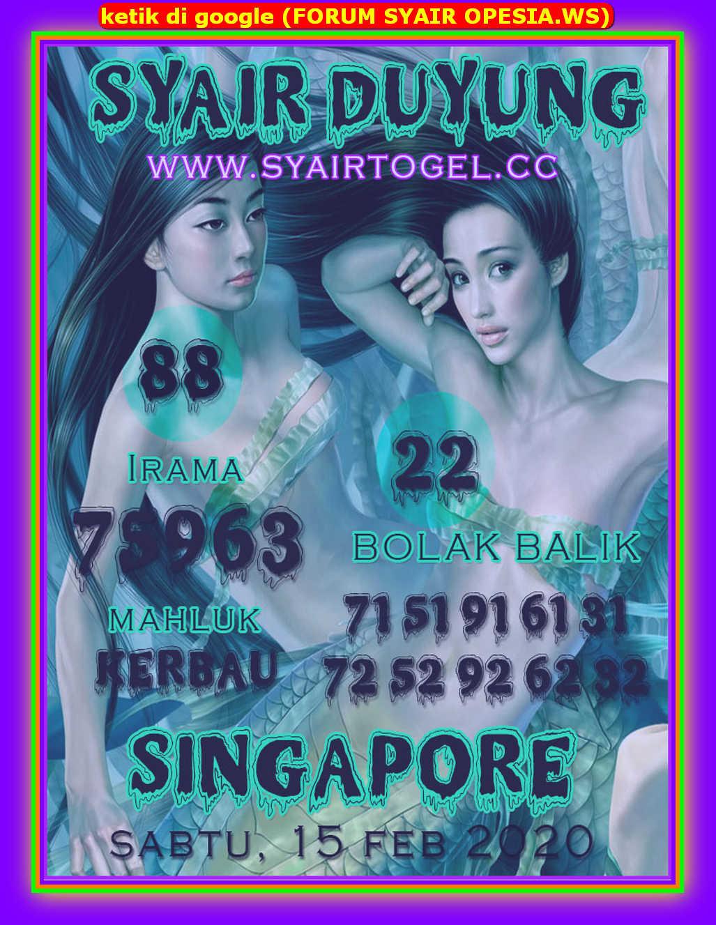 Kode syair Singapore Sabtu 15 Februari 2020 156