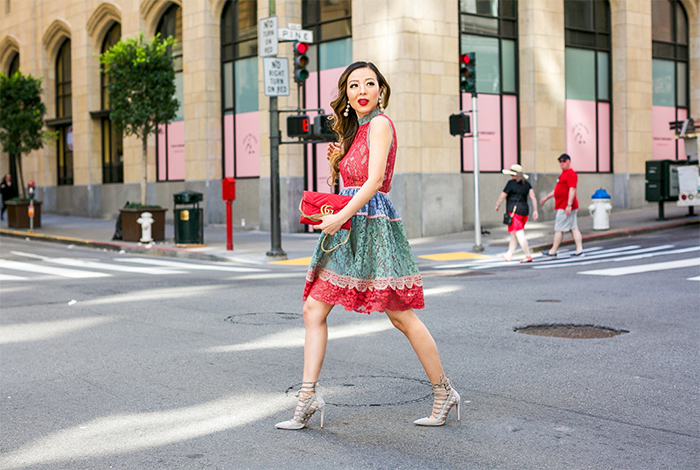 alexis VEDETTE DRESS, multicolor lace dress, aquzzura lace up heels, gucci bag, baublebar earrings, spring style, rsthecon finale party, alexis dress, date night outfit ideas, san francisco street style, san francisco fashion blog
