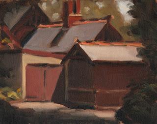Landscape oil painting of a Victorian-era brick building