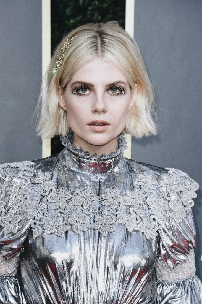 Lucy Boynton Wore Winged Liner Made From Priceless Gems to the 2020 Golden Globes