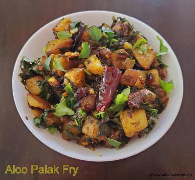 images of Aloo Palak Fry / Aloo Palak Vepudu / Potato Spinach Fry / Potato Palak Fry / Aloo Palak Stir Fry / Aloo Palak Sabzi