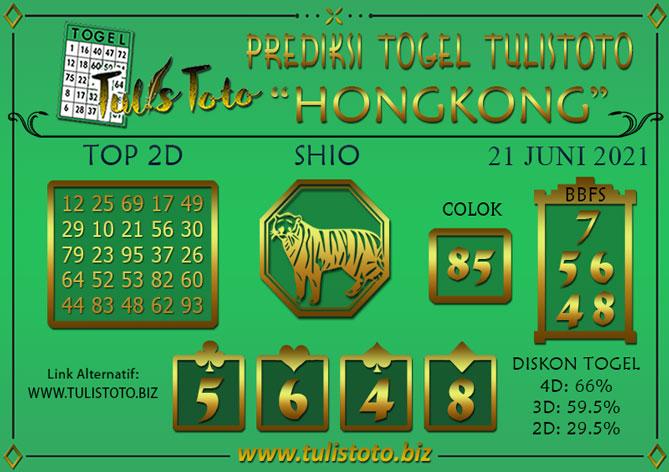 Prediksi Togel HONGKONG TULISTOTO 21 JUNI 2021