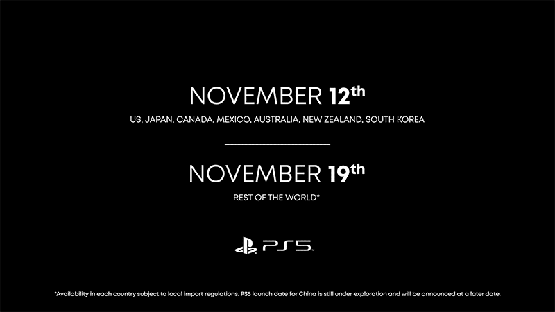 PS5 arrives this November