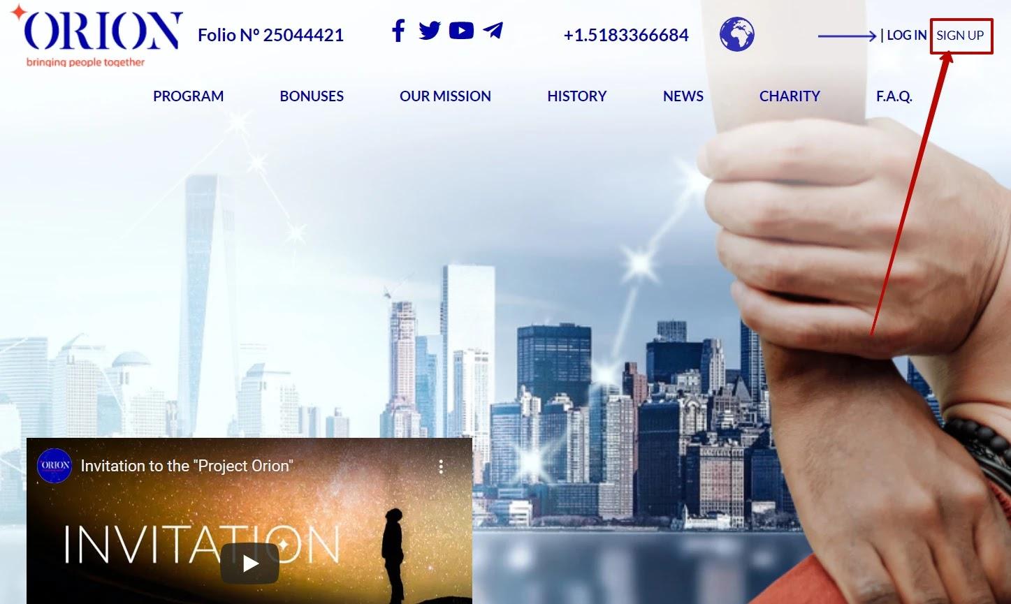 Регистрация в Orion Cash