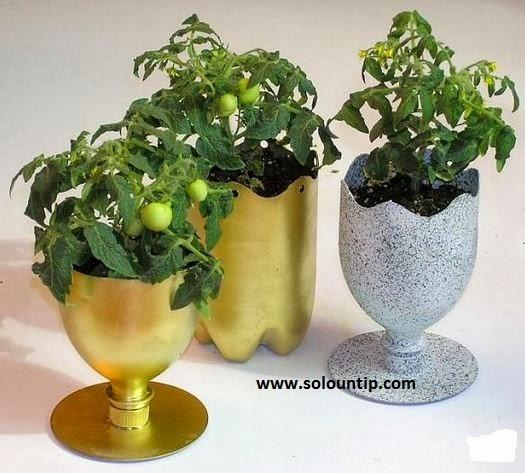 enfeites para jardim reciclados:Bonitos Maceteros con botellas de plástico ~ Solountip.com