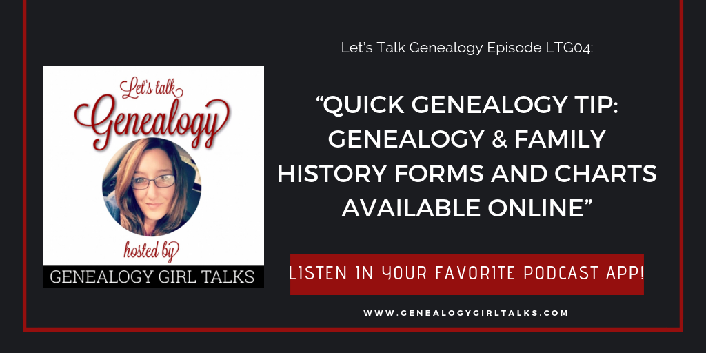Let's Talk Genealogy Podcast includes a Quick Genealogy Tip, a few Blogger Spotlights, and a fre tips on joining Geneealogy Photo A Day on Instagram!