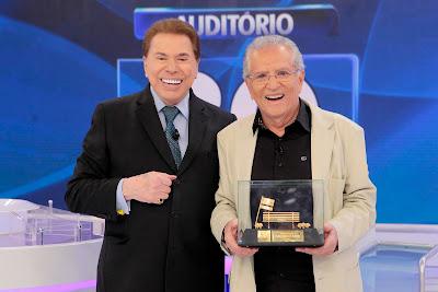 Silvio Santos e Carlos Alberto de Nóbrega - Crédito: Lourival Ribeiro/SBT