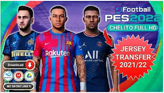 Download PES 2022 Chelito PPSSPP New Update Jersey GrafIk HD Camera Jauh Fix Cursor PS5 & Transfer Eropa 2021/22