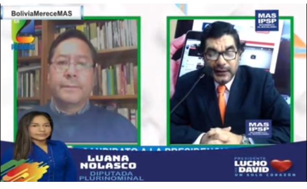 Arce comentó la encuesta interna del MAS, mientras se difundía propaganda fuera del plazo en un canal masista / CAPTURA PANTALLA
