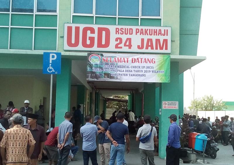 Polsek Pakuhaji Laksanakan Pengamanan Medikal Check Up Balon Kades Di RSUD