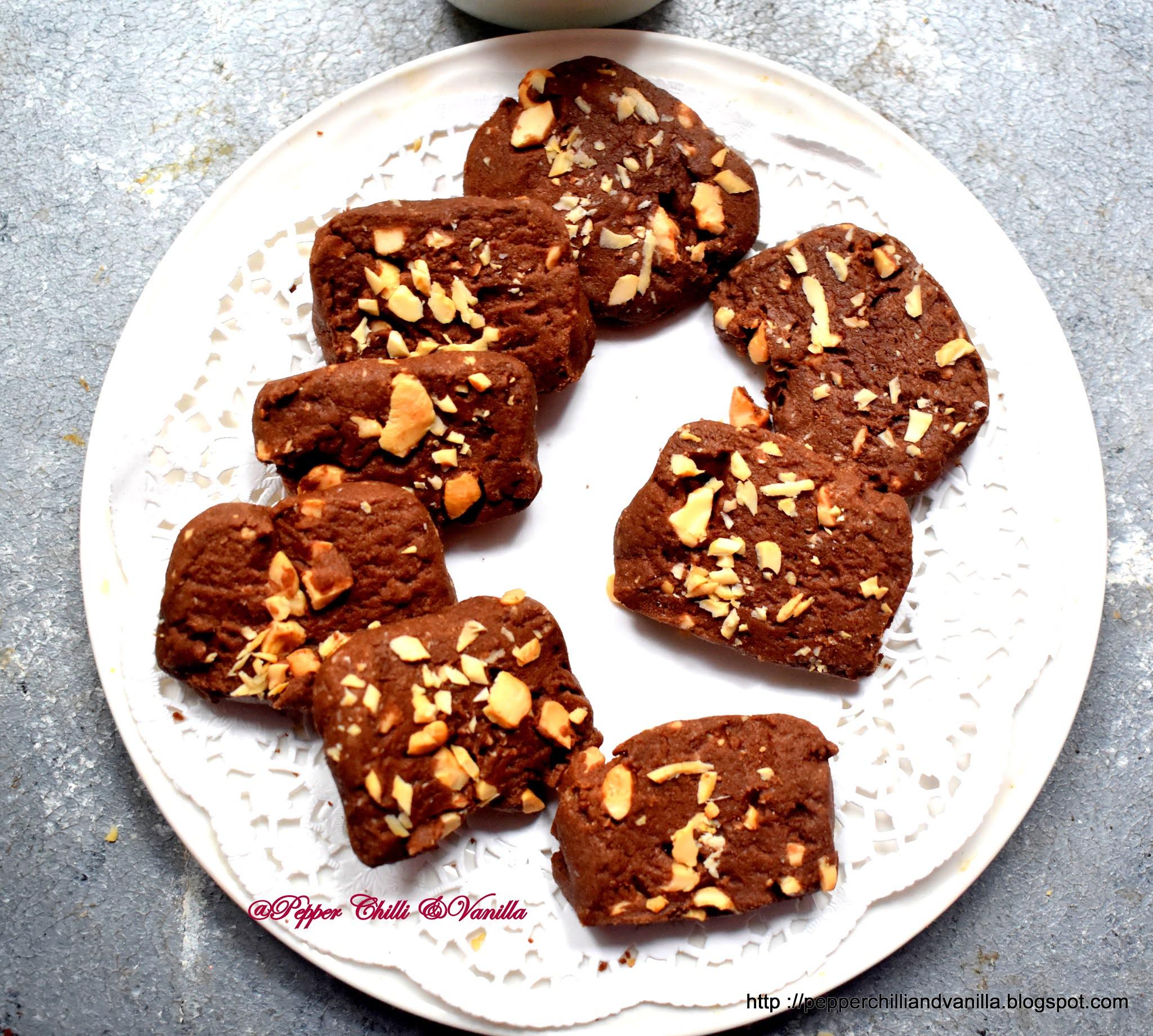 easy chocolate cashew cookies ,kaju chocolate cookies recipe