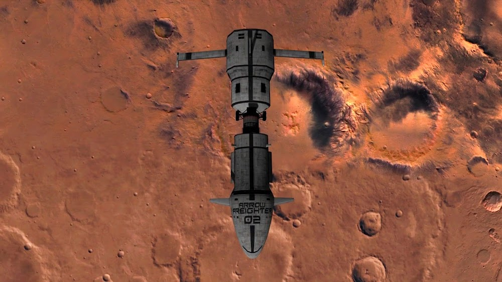 Cargo spaceship over Mars from Orbiter space flight simulator