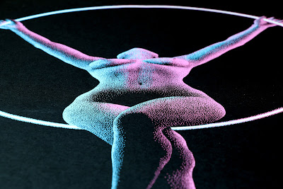 Pointillism paint Drawing of woman performing acrobatic hoop aerial moves being lit up by the hoop in blue and pink light.