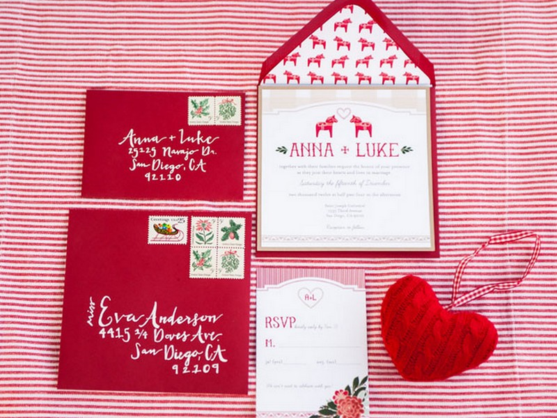 notice how even the stamp detail has been christmas ified love paper goods by peanut press creative photo by brittany dow photography via green wedding