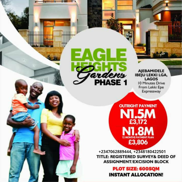 EAGLES HEIGHT GARDENS PHASE 1, AJEBANDELE, ELERANIGBE, IBEJU LEKKI, LAGOS (LAND FOR SALE)