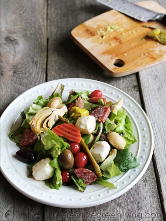 Italian Antipasto Salad  #CreativeGreenLiving