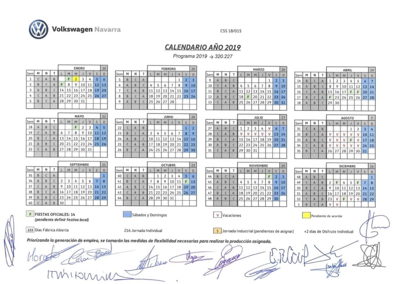 Calendario Laboral 2019 Navarra.Seccion Sindical Ccoo Volkswagen Navarra Calendario 2019