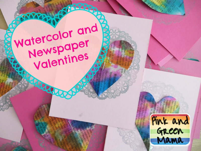 Pink And Green Mama Newspaper And Watercolor Heart