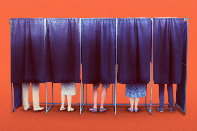 Voters in polling booths with curtains drawn