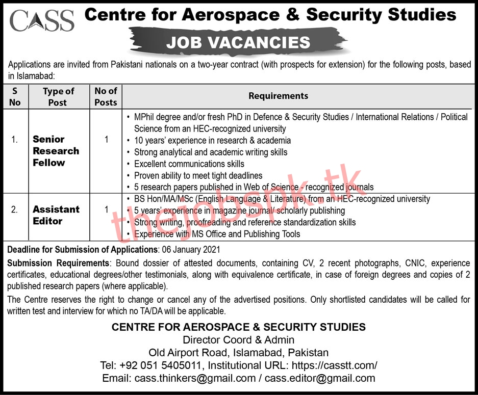 Latest Centre For Aerospace & Security Studies CASS Management Posts Islamabad 2021