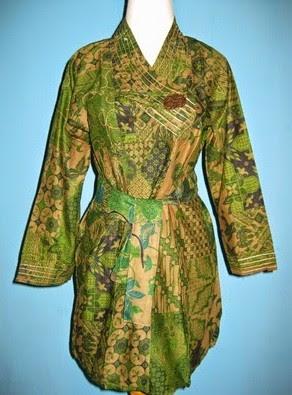 Model Dress Batik Orang Gemuk lengan panjang