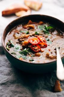 moroccan lentil stew vegetarian winter soup recipe