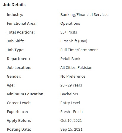 United Bank Limited (UBL) Jobs 2021 for Branch Services Officer