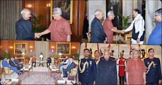 Sri Lankan president Gotabhaya Rajapaksa at dinner with Indian president Ram Nath Kovind (photos)