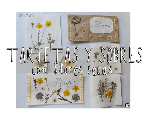 tarjetas y sobres para regalar con flores secas Nica Bernita