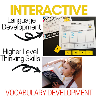 Language development, higher order thinking, based on common phonics patterns and dictionary use