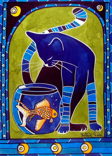 Blue Cat With Goldfish cat art by Dora Hathazi Mendes