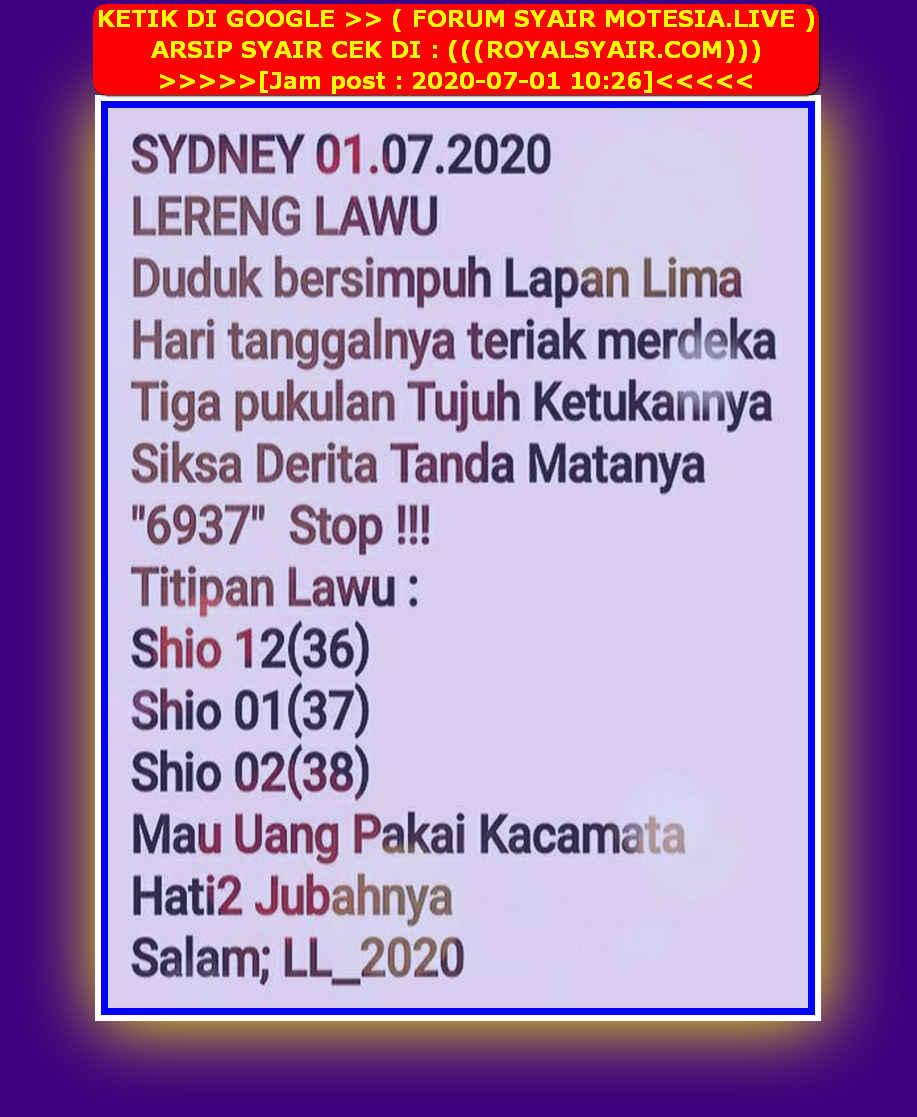 Kode syair Sydney Rabu 1 Juli 2020 21