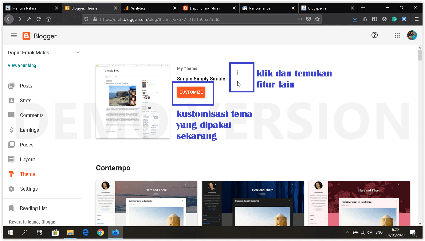 dashboard blogger baru menu theme
