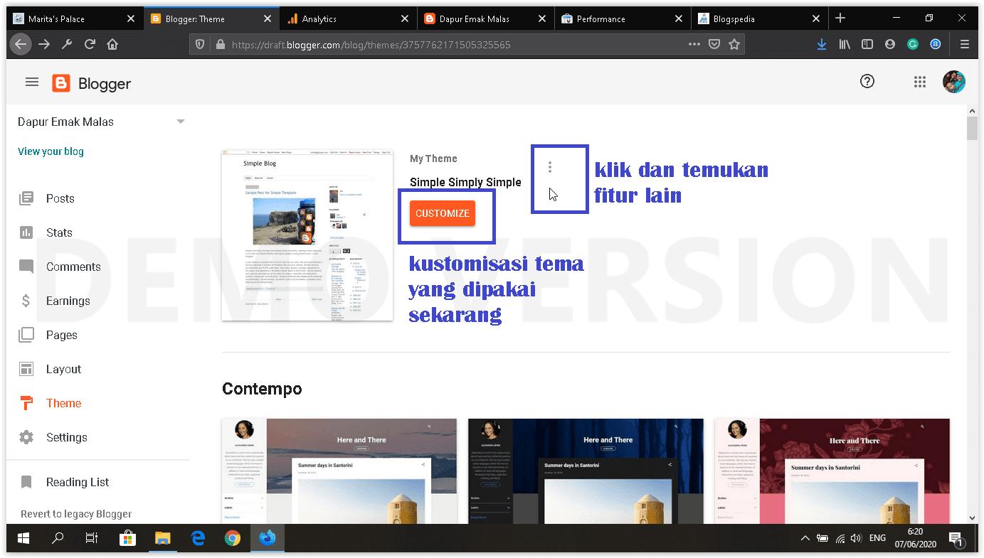 dashboard blogger baru menu theme