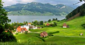 Sihlsee - o maior lago artificial da Suíça, no cantão de Schwyz