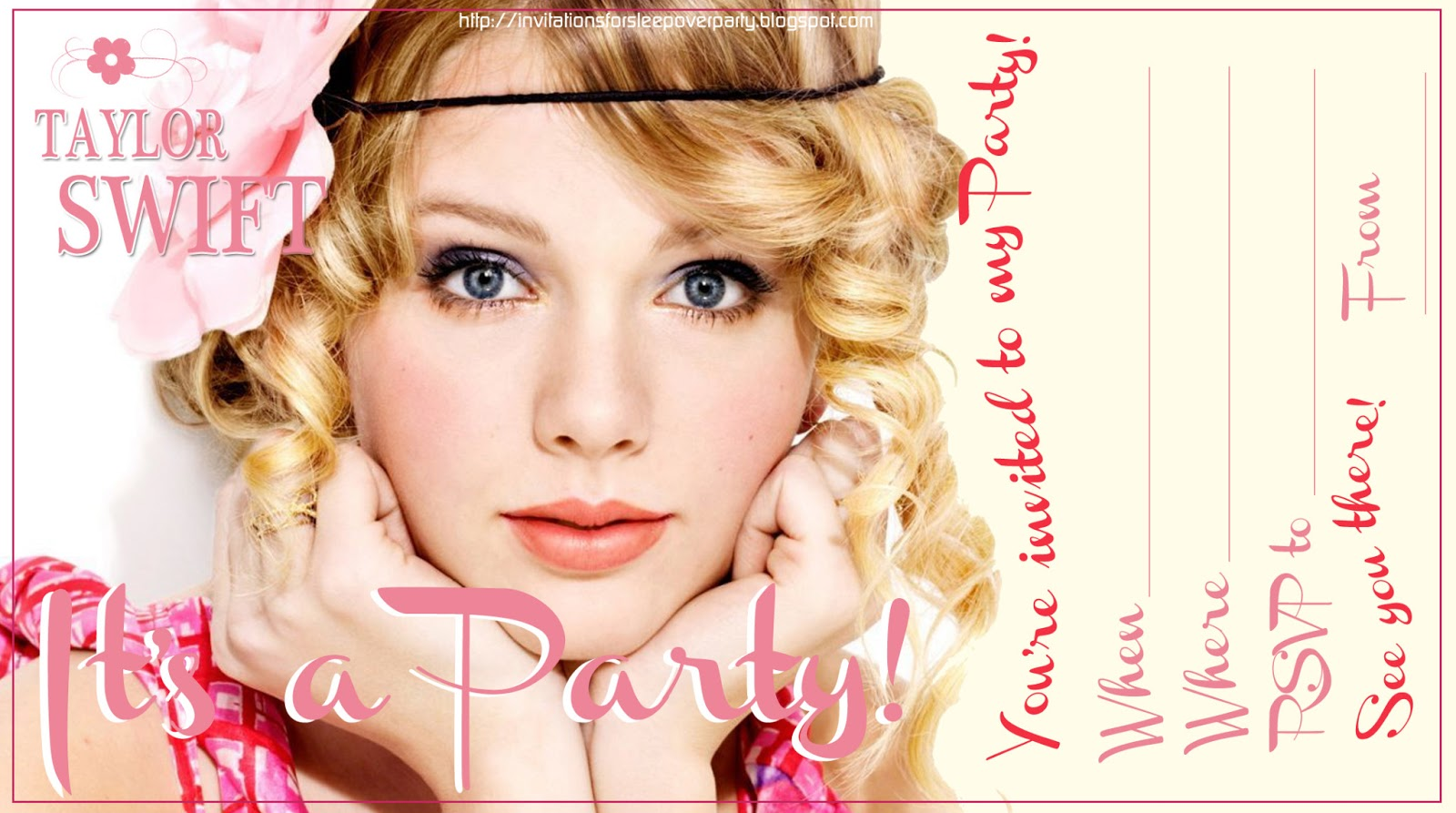 Invitations For Sleepover Party Taylor Swift