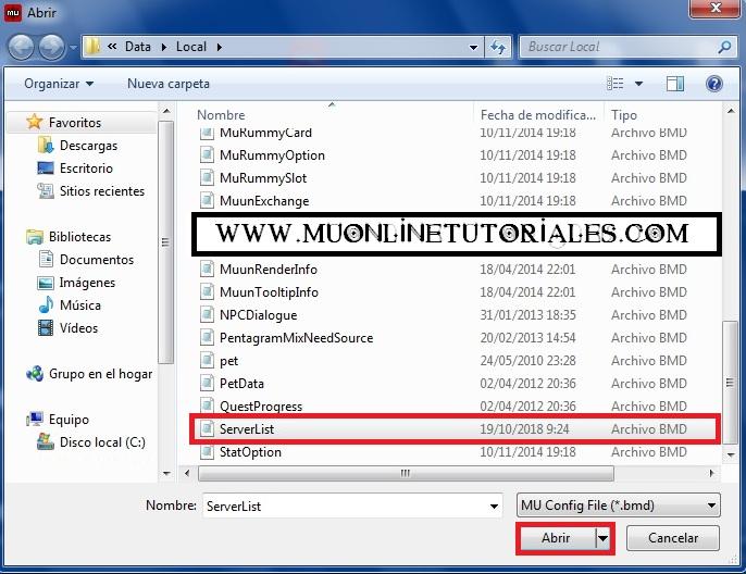 Seleccionando el serverlist para editar