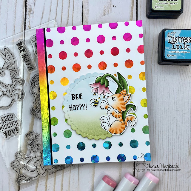 Bee Happy Cat and Bee Card by Tina Herbeck | Captivated Kittens Stamp Set and Circle Frames Die Set by Newton's Nook Designs #newtonsnook #handmade
