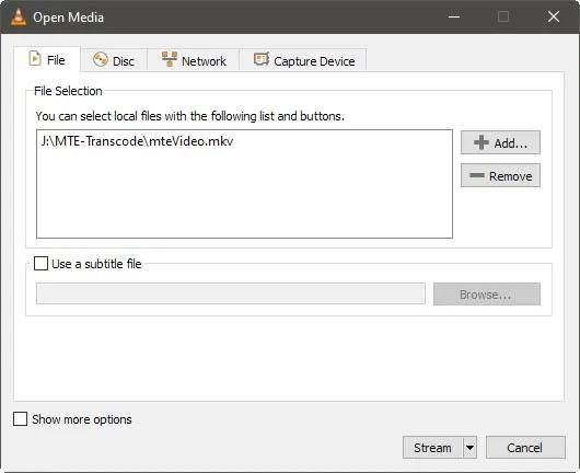 استخراج الصوت من الفيديو Vlc إضافة الفيديو