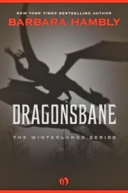 Cover of Dragonsbane featuring a greyscale illustration of a dragon's silhouette soaring over bare treetops. The title and border of the cover are in red and white.