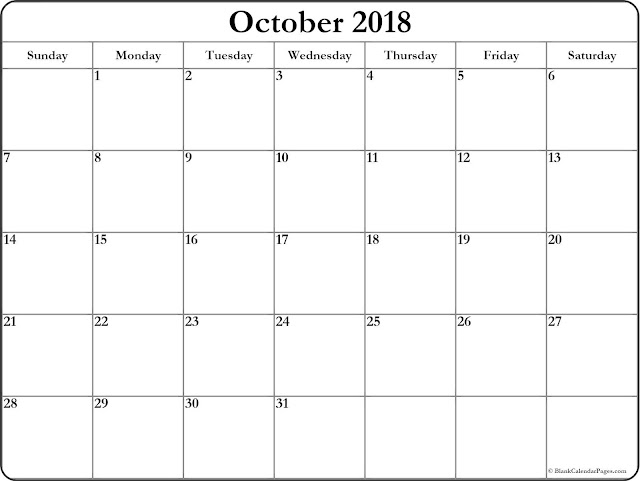 October 2018 Printable Calendar, October 2018 Blank Calendar, October 2018 Calendar Printable, October 2018 Calendar Template, October 2018 Calendar PDF, October 2018 Calendar Word, October 2018 Calendar Excel