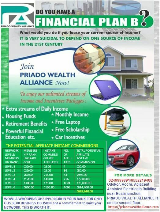 Join PRIADO WEALTH ALLIANCE- HOME OF UNLIMITED WEALTH CREATION