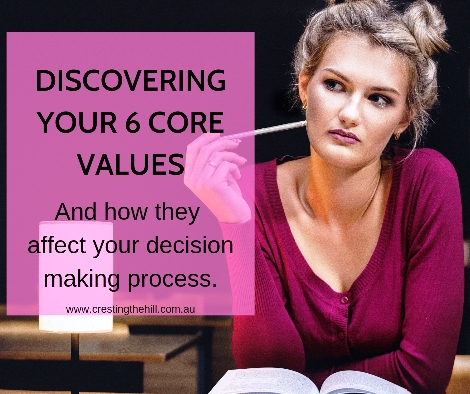 Explaining why you need to know your 6 Core Values and how they apply to your decision making process. #midlife #values